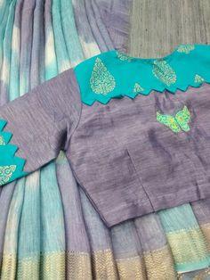 blouse designs latest Designer blouse images - The Handmade Crafts Cutwork Blouse Designs, Cotton Saree Blouse Designs, Simple Blouse Designs, Stylish Blouse Design, Sari Blouse, Designer Blouse Patterns, Sleeve Designs, Lehenga, Sarees