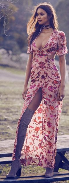 //pinterest @esib123 // #style #inspo  dress with slit and thigh high boots