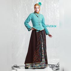 Asymmetric collar, Zipper accent, Embroidery on skirt. IDR Wa Only 9000 8889 Muslim, Zipper, Embroidery, Detail, Skirts, Outfits, Dresses, Fashion, Vestidos
