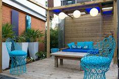 blue courtyard garden