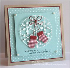 handmade Christmas card ... Memory Box dies ... kraft base with pastel blue and white and a pop of burgundy ... delightful card! ... mittons ...