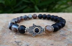 Mens Bracelet  Hamsa Bracelet  Hand of Fatima by Braceletshomme $27.00 #hamsabracelet #menbeadedbracelet #prayerbracelet