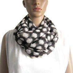 Snood double tour voile polyester noir et blanc écharpe Cheche Femme,  Voile, Foulard, c71bc3de2d8