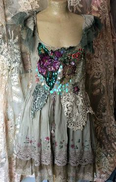 Mermaid fantasy- -bohemian shabby chic dress or tunic, embroidered and beaded details, authentic old laces, sz small