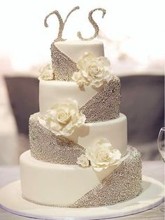 silver glittering white wedding cakes