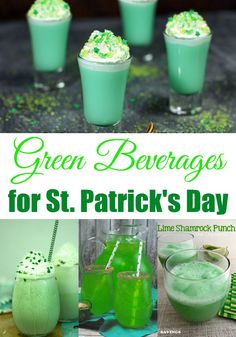I'm sure you'll find your perfect St. Patrick's day refresher with this list of 9 Green Beverages that are perfect for St. patricks day cocktails Green Beverages for St. St Patty's Day Drinks, St Patrick's Day Cocktails, Party Drinks, Green Cocktails, St Patrick Day Snacks, St Patricks Day Drinks, St Patricks Day Cakes, Smoothies, Irish Drinks