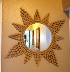 Sunburst cork mirror, cork art, thrift store mirror, folk art, @idlehandsdecore