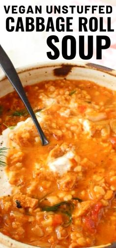 Vegan Unstuffed Cabbage Roll Soup Vegan Unstuffed Cabbage Roll Soup,Veggie Society Vegan unstuffed cabbage roll soup with sauerkraut, fresh cabbage, brown rice, tomato and meaty soy curls. Incredibly delicious and perfectly smoky from fire. Vegan Stew, Vegetarian Soup, Vegetarian Recipes, Veggie Soup, Vegan Soups, Vegan Cabbage Recipes, Vegan Cabbage Rolls, Healthy Sweet Snacks, Healthy Eating