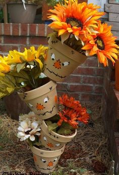 topsy tervy scarecrow painted pots, crafts, gardening, landscape, painting, seasonal holiday decor, tools