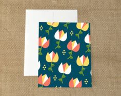"""Floral Pattern Greeting Card A2 (4.25"""" x 5.5"""") Flower Stationery - Retro Card"""