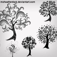 Decorative Trees Photoshop Brushes