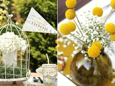 Pennants for centre piece - do in school colours theme with coordinating flowers...via Celebrations at Home with free downloads from The Pretty Blog
