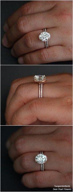14k Rose Gold Forever Classic Moissanite Oval 10x8mm and Diamond Wedding Ring #weddingideas #rings #weddings ❤️ http://www.deerpearlflowers.com/engagement-rings-from-twoperidotbirds/ #ovalweddingrings #weddingring