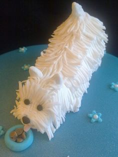 Westie Dog cake, gonna try using 2 cupcakes with grass tip for hair, tip for tail & for ears for eye& nose& # 1 for tongue Pretty Cakes, Cute Cakes, Beautiful Cakes, Amazing Cakes, Beautiful Boys, Westies, Westie Dog, Animal Cakes, Dog Cakes