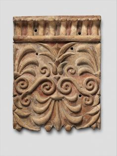 Etruscan, Terracotta architectural plaque with lotus and palmette designs, late 4th century BC