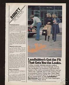 Landlubber Jeans  1977 Ad Landlubber Jeans Women watching mans butt***