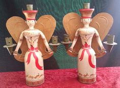 Rare vintage hand #painted folk art wood erzgebirge angels #candle #holders germa, View more on the LINK: http://www.zeppy.io/product/gb/2/262297146297/