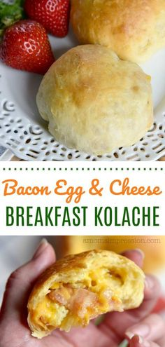This bacon, cheese and egg kolache recipe is delicious and perfect for breakfast. This version is a simple take on the traditional Czech recipe using premade biscuit dough. AD #breakfast #bacon #kolache #biscuit #cheese