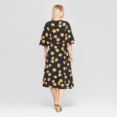 8e3b38fea2eff Women s Floral Print Bell Sleeve A-Line Dress - Who What Wear Black Yellow  XL
