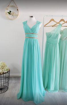 8fa013a7bb Aqua blue bridesmaid dresses make the perfect destination wedding color.  Shop mismatched bridesmaid dresses in