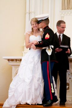 THIS is adorable. HannahGirl's brother Pete and his wife Alisa....so cute!!! #Marines #USMC #wedding