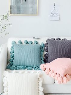 It& been a Pom Pom pillow kinda day! Oversized tassels add style and texture to this striped pillow - a luxe, boho-chic statement on any couch, chair, or bed. Cute Pillows, Fluffy Pillows, Diy Pillows, Decorative Pillows, Throw Pillows, Chunky Knit Throw, Trendy Home Decor, Crochet Home Decor, Crochet Pillow