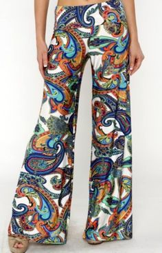 New Multicolor Paisley Foldover Bell Wide Leg Palazzo Pants - Blue, Pink - S,M,L