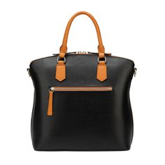 Effortless style is easy with this chic handbag. Use double handles to carry as a handbag or wear as a shoulder bag with removable strap. Made of genuine leathe