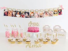 This First Birthday 12 Month photo banner in pink and gold is the perfect birthday wall decoration to show your little ones first year journey month by month with your fantastic personal monthly photos. It will give add a unique touch to your party and all your guests will be