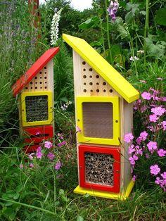 house for various bees Bees, Outdoor Decor, Garden, House, Home Decor, Crates, Wood Bees, Homemade Home Decor, Home