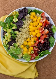 Vegan Quinoa Mexi salad.  Think I'd add a seasoned fresh lemon dressing to this for a bit of flavor and zing but it looks delish.