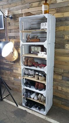 Home Decor Spectacular Diy Shoe Storage Ideas For Best Home Organization To Try Ultimate Closet Diy Pallet Furniture, Furniture Makeover, Wooden Crate Furniture, Diy Bedroom Decor, Diy Home Decor, Diy Shoe Storage, Storage Ideas, Diy Casa, Wooden Crates