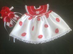 Handmade Crochet Newborn Baby Girl Dress Set - Red