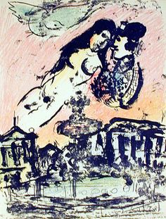 Marc Chagall - Between Surrealism & NeoPrimitivism - Round Prints - Lovers Over The City Marc Chagall, List Of Artists, Great Artists, Pablo Picasso, Folklore Russe, Cubism, French Artists, Ciel, New Art