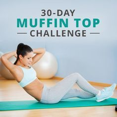 Fitness Inspiration : 30 Day Muffin Top Challenge designed to hit all angles of the midsection! - All Fitness Fitness Herausforderungen, Fitness Motivation, Health Fitness, Workout Fitness, Health Diet, Muffin Top Challenge, Workout Bauch, Mommy Workout, I Work Out