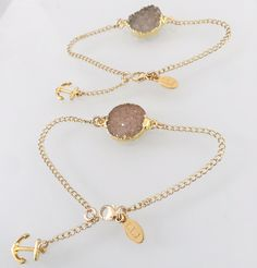 DRUZY Anchored to You Dainty Bracelets -sold in a set – Long Lost Jewelry