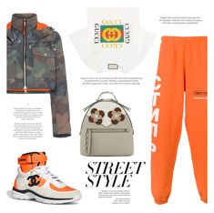 """NYFW Street Style: Heron Preston x Gucci x Chanel x Fendi"" by mariluz-garcia ❤ liked on Polyvore featuring Heron Preston, Gucci, Fendi, contestentry and nyfwstreetstyle"