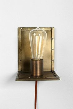 brass angled wall sconce lamp