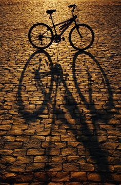 My bike. *edit* March 2009 Retook the photo so that you can't see the other part of the street. Shadow Photography, Street Photography, Pretty Pictures, Cool Photos, Bicycle Art, Picture Photo, Amazing Art, Eye Makeup, Street Art