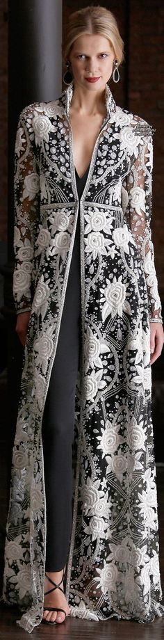 Naeem Khan Resort 2015 - I can see this in a pale under color as a wedding dress - oh, and with a long skirt not the pants.