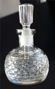 Sparkling Waterford Glandore Pattern Cut Glass Crystal Perfume Bottle & Stopper