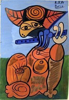 """Oil Painting on Paper by Pablo Picasso Hand Signed, Oil Painting on Paper, Size Approx. 20"""" x 13 1/2"""" in."""
