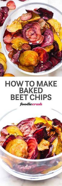 Baked beet chips are a healthy snack, but how do you achieve a crisp chip when it isn't fried? These are my tips to getting a crisp beet chip from the oven that I'm betting you too will be squealing over. | foodiecrush.com