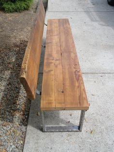 6 ft Bench with back and rectangular legs made from antique barnwood and steel on Etsy, $399.00