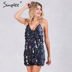Deep V Large Sequin Backless Party Dress (3 colors) - Easy Glitzy Abiti  Invernali a31a7a735ed