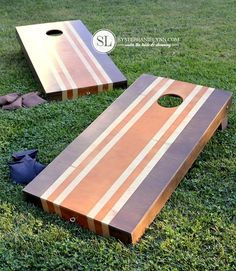 Stained Stripes Corn Hole Boards | Creative Corn Hole Boards To Inspire Your Next Backyard Game Night