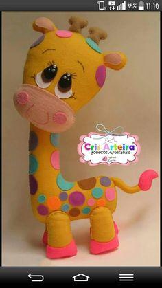 Jirafita Animal Sewing Patterns, Felt Patterns, Sewing Stuffed Animals, Stuffed Animal Patterns, Felt Crafts Diy, Felt Baby, Sewing Toys, Felt Toys, Felt Ornaments