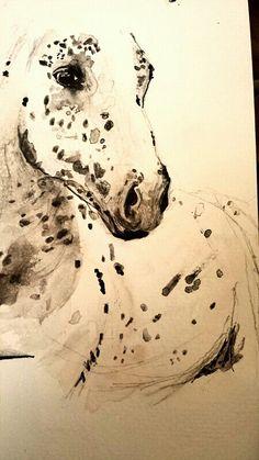 Horse watercolor artwork