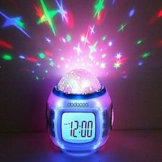 Kids/Teen/Tot Star Night Light Projector and Bedroom Lamp Alarm Clock w/music