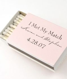 Personalized Matches, Wedding Matches for the Perfect Match! Our company a offers a wide selection of personalized matches arriving in different shapes, sizes and colors to fit every bride's style. Also choose from our selections ofwedding favors, persona Creative Wedding Ideas, Cute Wedding Ideas, Perfect Wedding, Wedding Inspiration, Creative Wedding Invitations, Wedding Stationary, Makeup Inspiration, Creative Ideas, Wedding Wishes